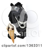 Clipart Of A 3d Black Horse Holding A Waffle Ice Cream Cone Around A Sign On A White Background Royalty Free Illustration