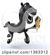 Clipart Of A 3d Black Horse Holding A Waffle Ice Cream Cone And Running On A White Background Royalty Free Illustration