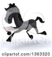 Clipart Of A 3d Black Horse Wearing Sunglasses Running And Reading A Book On A White Background Royalty Free Illustration