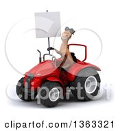 Clipart Of A 3d Brown Horse Wearing Sunglasses Holding A Blank Sign And Operating A Red Tractor On A White Background Royalty Free Illustration