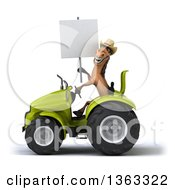 Clipart Of A 3d Brown Cowboy Horse Holding A Blank Sign And Operating A Green Tractor On A White Background Royalty Free Illustration