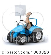 Clipart Of A 3d Brown Horse Holding A Blank Sign And Operating A Blue Tractor On A White Background Royalty Free Illustration