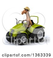 Clipart Of A 3d Brown Cowboy Horse Operating A Green Tractor On A White Background Royalty Free Illustration