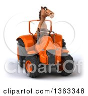 Clipart Of A 3d Brown Horse Operating An Orange Tractor On A White Background Royalty Free Illustration