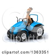 Clipart Of A 3d Brown Horse Operating A Blue Tractor On A White Background Royalty Free Illustration