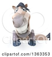 Clipart Of A 3d Happy Beige Horse Over A Sign On A White Background Royalty Free Illustration by Julos