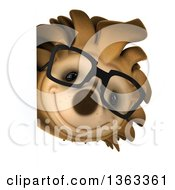 Clipart Of A 3d Happy Bespectacled Hedgehog Looking Around A Sign On A White Background Royalty Free Illustration