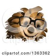 Clipart Of A 3d Happy Bespectacled Hedgehog Over A Sign On A White Background Royalty Free Illustration