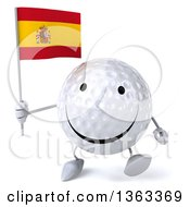 Clipart Of A 3d Happy Golf Ball Character Walking And Holding A Spanish Flag On A White Background Royalty Free Illustration