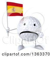 Clipart Of A 3d Unhappy Golf Ball Character Holding And Pointing To A Spanish Flag On A White Background Royalty Free Illustration