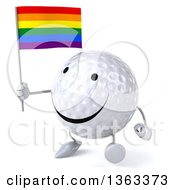 Clipart Of A 3d Happy Golf Ball Character Walking And Holding A Rainbow Flag On A White Background Royalty Free Illustration