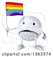 Clipart Of A 3d Unhappy Golf Ball Character Holding A Rainbow Flag On A White Background Royalty Free Illustration