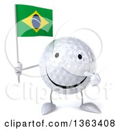 Clipart Of A 3d Happy Golf Ball Character Holding And Pointing To A Brazilian Flag On A White Background Royalty Free Illustration