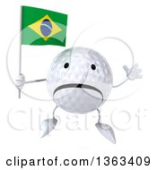 Clipart Of A 3d Unhappy Golf Ball Character Jumping And Holding A Brazilian Flag On A White Background Royalty Free Illustration