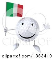 Clipart Of A 3d Happy Golf Ball Character Jumping And Holding An Italian Flag On A White Background Royalty Free Illustration