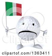 Clipart Of A 3d Unhappy Golf Ball Character Giving A Thumb Down And Holding An Italian Flag On A White Background Royalty Free Illustration