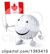 Clipart Of A 3d Happy Golf Ball Character Walking And Holding A Canadian Flag On A White Background Royalty Free Illustration
