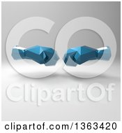 Clipart Of 3d Geometric Blue Boxing Gloves On A Shaded Background Royalty Free Illustration