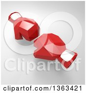 Clipart Of 3d Geometric Red Boxing Gloves On A Shaded Background Royalty Free Illustration