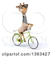 Clipart Of A 3d Bespectacled Business Giraffe Riding A Bicycle On A White Background Royalty Free Illustration