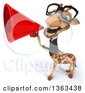 Clipart Of A 3d Bespectacled Business Giraffe Announcing With A Megaphone On A White Background Royalty Free Illustration