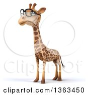 Clipart Of A 3d Bespectacled Giraffe On A White Background Royalty Free Illustration