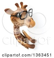 Clipart Of A 3d Bespectacled Giraffe Looking Around A Sign On A White Background Royalty Free Illustration