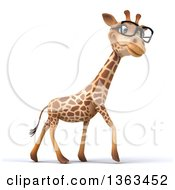 Clipart Of A 3d Bespectacled Giraffe Walking On A White Background Royalty Free Illustration