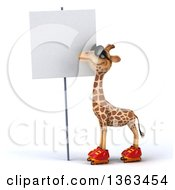 Clipart Of A 3d Giraffe Wearing Sunglasses And Roller Skating Looking At A Blank Sign On A White Background Royalty Free Illustration