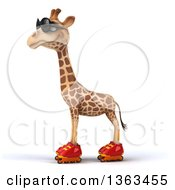 Clipart Of A 3d Giraffe Wearing Sunglasses And Roller Skating On A White Background Royalty Free Illustration