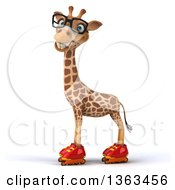 Clipart Of A 3d Bespectacled Giraffe Roller Skating On A White Background Royalty Free Illustration