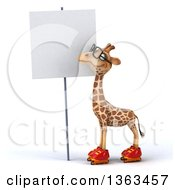Clipart Of A 3d Bespectacled Giraffe Roller Skating And Looking At A Blank Sign On A White Background Royalty Free Illustration