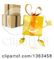 Clipart Of A 3d Happy Yellow Gift Character Holding Boxes And Jumping On A White Background Royalty Free Illustration