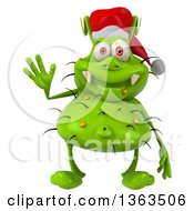 Clipart Of A 3d Green Christmas Germ Virus Wearing A Santa Hat And Waving On A White Background Royalty Free Illustration