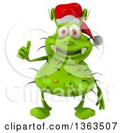 Clipart Of A 3d Green Christmas Germ Virus Wearing A Santa Hat And Giving A Thumb Up On A White Background Royalty Free Illustration