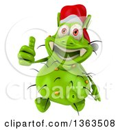 Clipart Of A 3d Green Christmas Germ Virus Wearing A Santa Hat And Holding Up A Thumb On A White Background Royalty Free Illustration