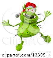 Clipart Of A 3d Green Christmas Germ Virus Wearing A Santa Hat And Jumping On A White Background Royalty Free Illustration