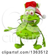 Clipart Of A 3d Green Christmas Germ Virus Wearing A Santa Hat And Presenting On A White Background Royalty Free Illustration