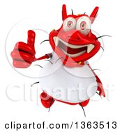 Clipart Of A 3d Red Germ Virus Wearing A White T Shirt Holding Up A Thumb On A White Background Royalty Free Illustration