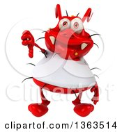 Clipart Of A 3d Red Germ Virus Wearing A White T Shirt And Giving A Thumb Down On A White Background Royalty Free Illustration