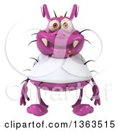 Clipart Of A 3d Purple Germ Virus Wearing A White T Shirt On A White Background Royalty Free Illustration by Julos