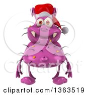 Clipart Of A 3d Purple Christmas Germ Wearing A Santa Hat On A White Background Royalty Free Illustration