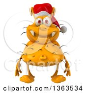 Clipart Of A 3d Yellow Christmas Germ Wearing A Santa Hat On A White Background Royalty Free Illustration