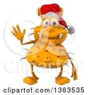 Clipart Of A 3d Yellow Christmas Germ Wearing A Santa Hat And Waving On A White Background Royalty Free Illustration