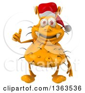 Clipart Of A 3d Yellow Christmas Germ Wearing A Santa Hat And Giving A Thumb Up On A White Background Royalty Free Illustration