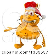 Clipart Of A 3d Yellow Christmas Germ Wearing A Santa Hat And Presenting On A White Background Royalty Free Illustration