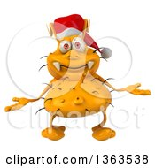 Clipart Of A 3d Yellow Christmas Germ Wearing A Santa Hat And Shrugging On A White Background Royalty Free Illustration