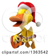 3d Yellow Christmas Duck Flying And Playing A Guitar On A White Background