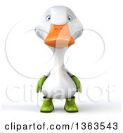 Clipart Of A 3d White Gardener Duck On A White Background Royalty Free Illustration by Julos