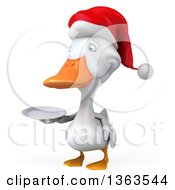 Clipart Of A 3d White Christmas Duck Wearing A Santa Hat And Holding A Plate On A White Background Royalty Free Illustration
